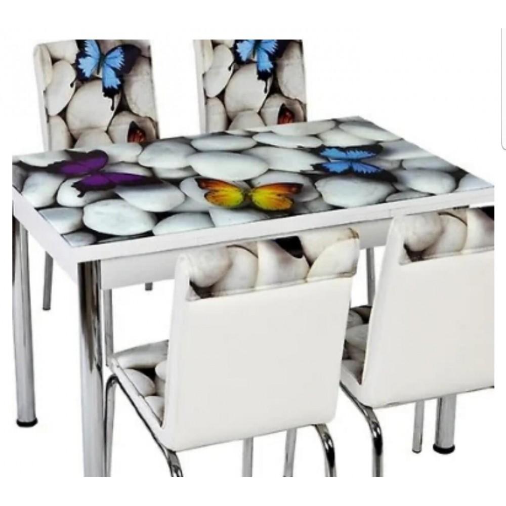 Стеклянный стол Турция (комплект стол + 4 стула)