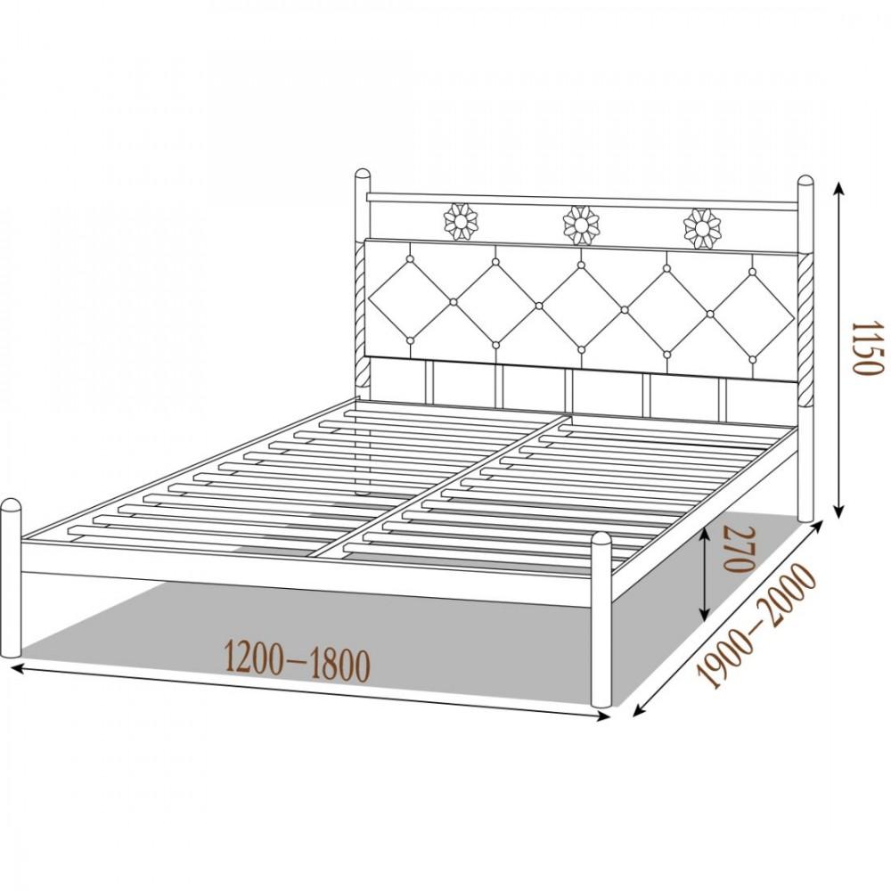 Кровать металлическая белла1600*2000